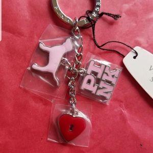 ☆NWT☆ RARE PINK Keychain w/ Dog Charms